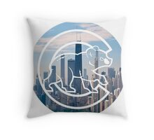 Chicago Cubs Skyline Logo Throw Pillow