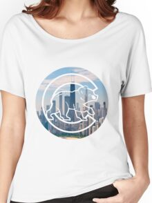 Chicago Cubs Skyline Logo Women's Relaxed Fit T-Shirt