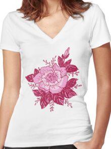 Romantic roses Women's Fitted V-Neck T-Shirt