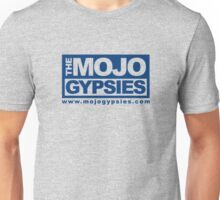 Heathered T-Shirt with Mojo Gypsies block logo in blue Unisex T-Shirt