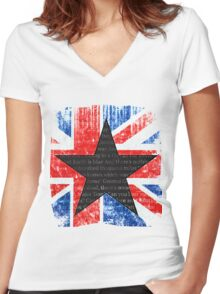 David Bowie Black Star Space Oddity Women's Fitted V-Neck T-Shirt