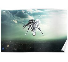 Gundam Wing above the city  Poster
