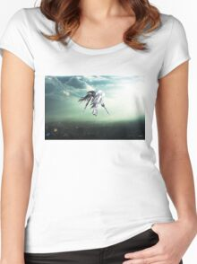 Gundam Wing above the city  Women's Fitted Scoop T-Shirt