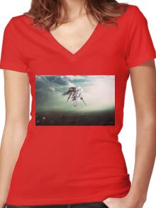 Gundam Wing above the city  Women's Fitted V-Neck T-Shirt