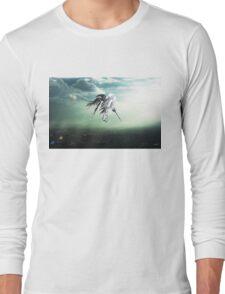 Gundam Wing above the city  Long Sleeve T-Shirt