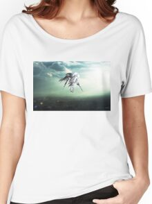 Gundam Wing above the city  Women's Relaxed Fit T-Shirt