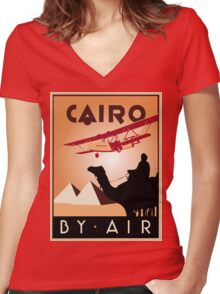 Cairo by air retro vintage travel Women's Fitted V-Neck T-Shirt