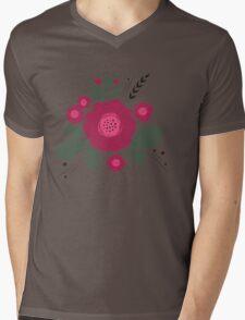 Flowers in folk stile with spikelet pattern. Mens V-Neck T-Shirt