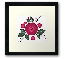 Flowers in folk stile with spikelet pattern. Framed Print