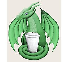 Green Dragon with Latte (purple eye) Photographic Print
