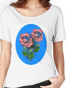 ✰* ★UNITED STATES PATRIOTIC ROSE TEE SHIRT✰* ★ Women's Relaxed Fit T-Shirt