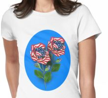 ✰* ★UNITED STATES PATRIOTIC ROSE TEE SHIRT✰* ★ Womens Fitted T-Shirt