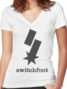 """Switchfoot """"S"""" Logo (Gray) Women's Fitted V-Neck T-Shirt"""