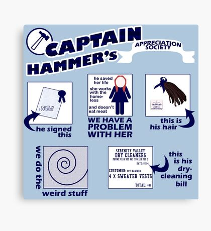 Captain Hammer's Appreciation Society Canvas Print