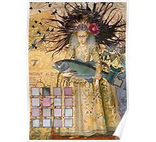 Whimsical Pisces Woman Renaissance fishing Gothic Poster