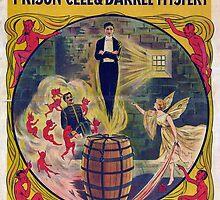 Harry Houdini Vintage Poster Art- Barrel Mystery! by Jeff East