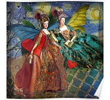 Vintage Golden Women Gemini Gothic Whimsical Collage Poster