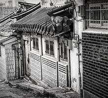 South Korean Hanok Street BW by joancarroll