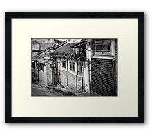 South Korean Hanok Street BW Framed Print