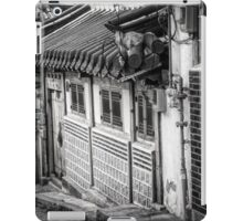 South Korean Hanok Street BW iPad Case/Skin