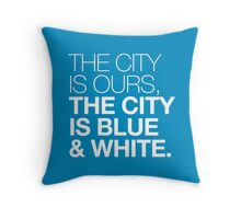 The City is Blue & White Throw Pillow