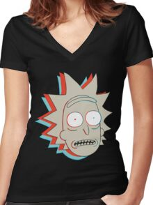 Rick and Morty: 3D Rick Women's Fitted V-Neck T-Shirt