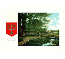 ca 1900 Lexden Colchester and coat of Arms Art Print