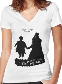 Take My Hand Women's Fitted V-Neck T-Shirt