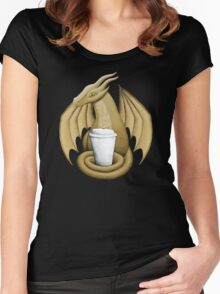 Latte Dragon (green eye) Women's Fitted Scoop T-Shirt