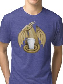 Latte Dragon (green eye) Tri-blend T-Shirt