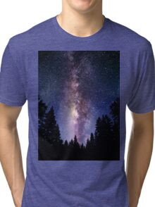 Starry Night Forest - Galaxy Stars Tri-blend T-Shirt