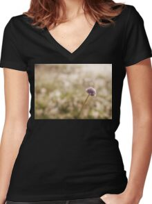 Field Scabious flower Women's Fitted V-Neck T-Shirt