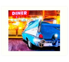 Classic 1957 Chevy Outside Of An Old American Diner Art Print