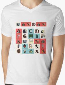 London Alphabet Mens V-Neck T-Shirt