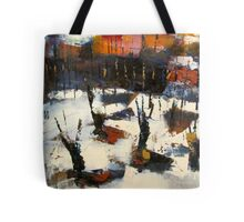 Trees in melting snow Tote Bag