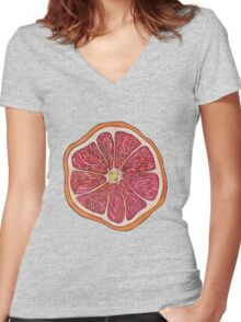 Grapefruit Women's Fitted V-Neck T-Shirt