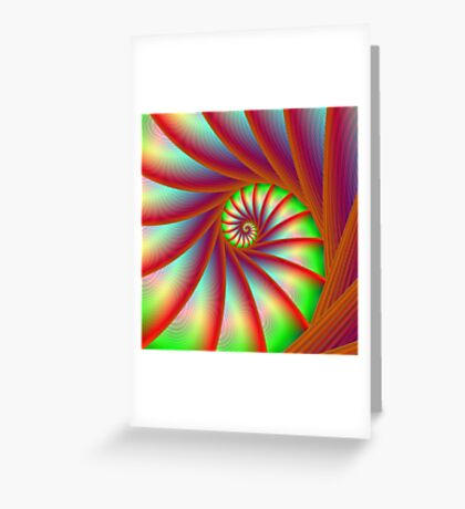 Staircase Spiral in Orange Blue and Green Greeting Card
