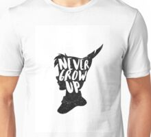 PETER PAN | NEVER GROW UP | FIRST STAR ON THE RIGHT | TINKER BELL | CAPTAIN HOOK | CROCODILE | CLOCK TOWER | QUOTE | TYPOGRAPHY Unisex T-Shirt