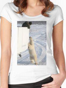A Curious Polar Bear Women's Fitted Scoop T-Shirt