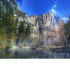Yosemite Falls with Merced River by EricKulikoff