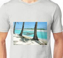 Empty hammock between two tropical palm trees in Cook Islands. Unisex T-Shirt