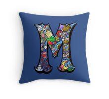 Doodle Letter M Throw Pillow