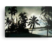 Silhouette palms at sunset. Metal Print