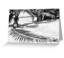 Palm and shadow on beach Greeting Card