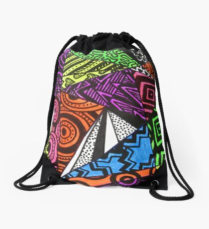 Abstract Fluoro Geometric 1  Drawstring Bag