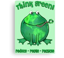 Think Green Frog Environment T-Shirt Canvas Print