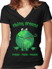Think Green Frog Environment T-Shirt Women's Fitted V-Neck T-Shirt
