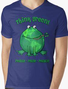 Think Green Frog Environment T-Shirt Mens V-Neck T-Shirt