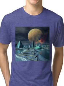 Futuristic Alien City - Computer Artwork Tri-blend T-Shirt
