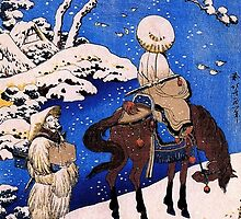 'The Poet Teba on a Horse' by Katsushika Hokusai (Reproduction) by Roz Abellera Art Gallery